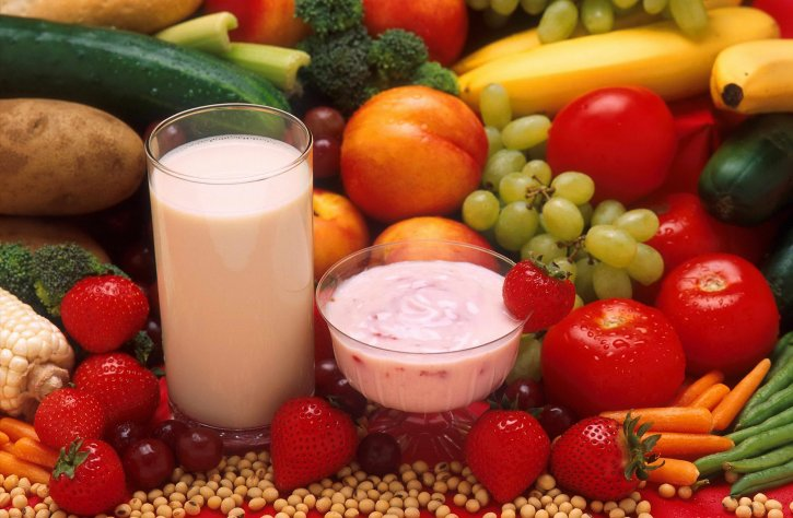 Photo: Healthy Foods - Fruits, Vegetables, Grains and Dairy